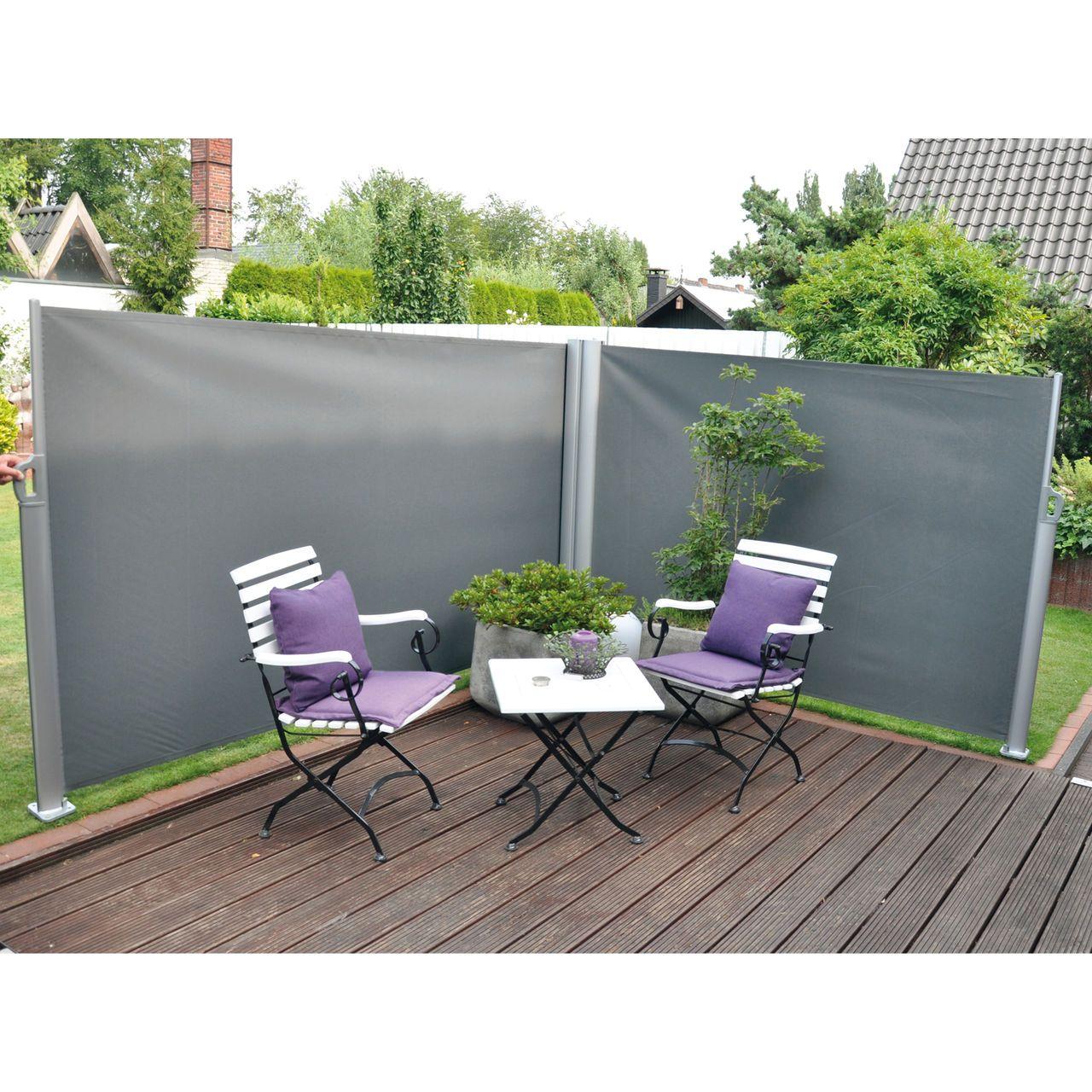 ausziehbare seitenmarkise als windschutz und sichtschutz. Black Bedroom Furniture Sets. Home Design Ideas