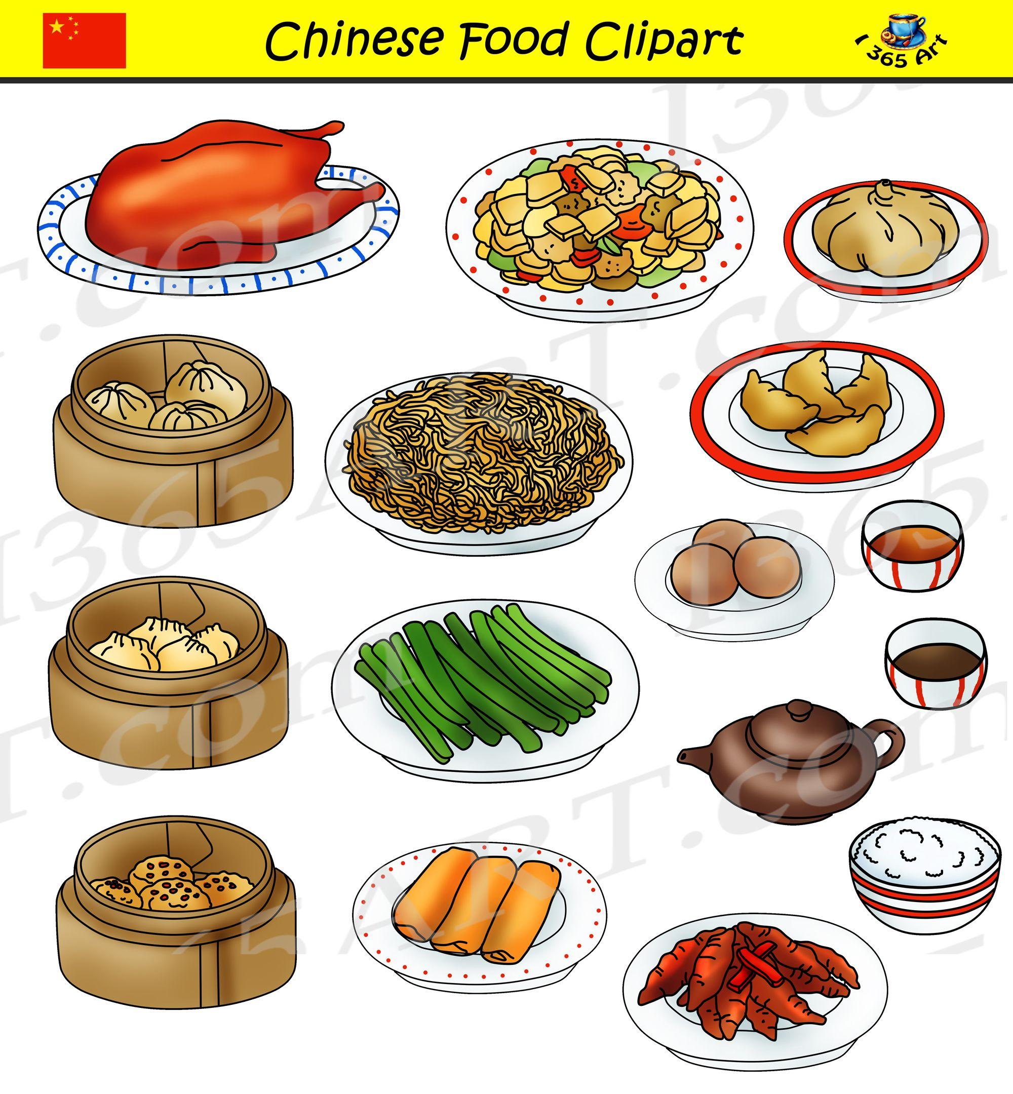 Chinese Food Clipart Set Commercial Graphics Clipart For
