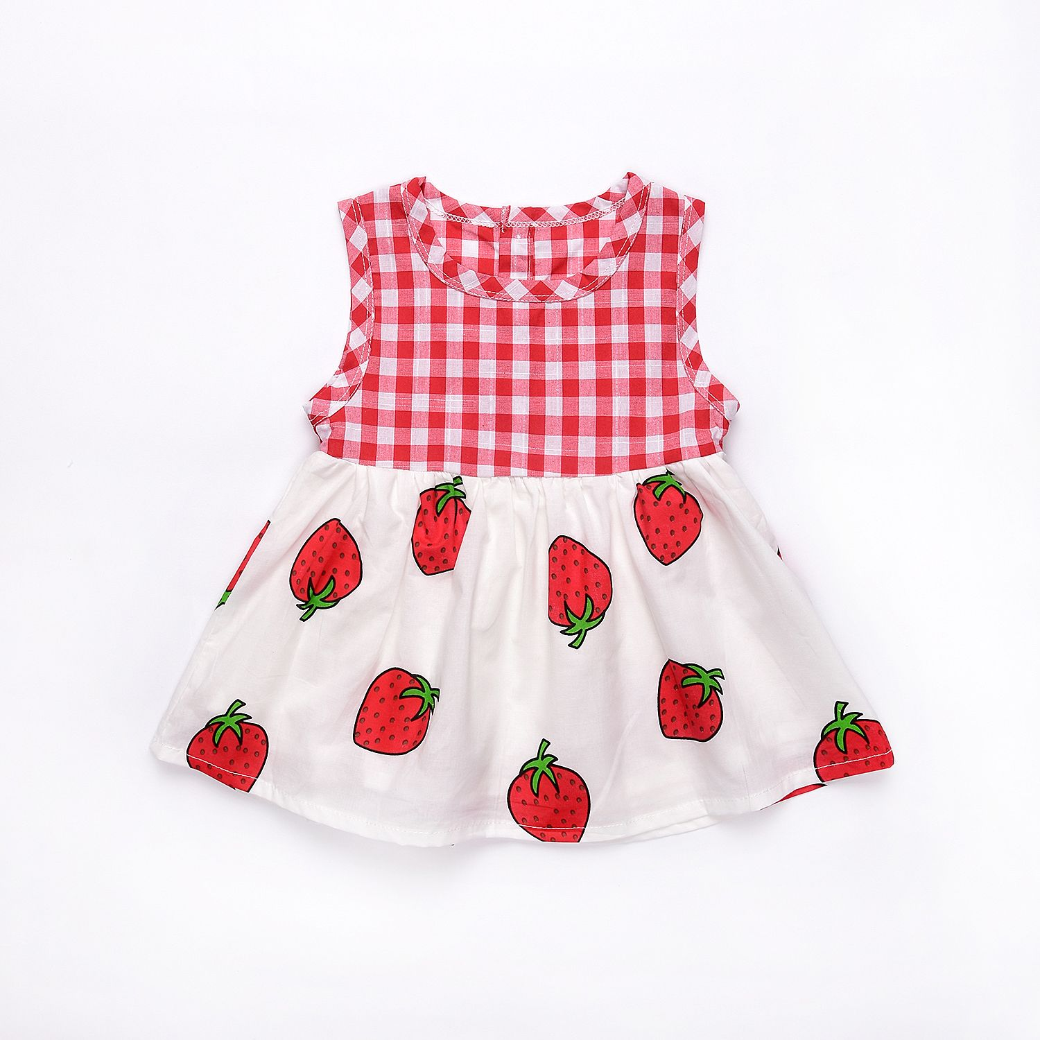 0bf6ba804 Mikrdoo Newborn Summer Baby Girl Dress Plaid Sweet Strawberry Printed  Cotton Dresses Infant Kid's Birthday Gift Clothes Suit 0-2 Year