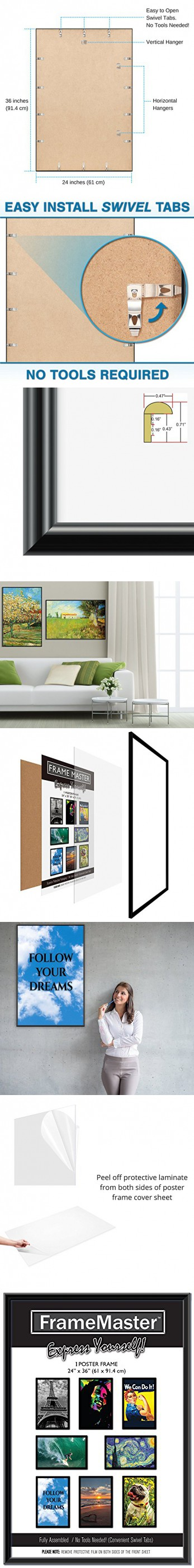 ed893a7c8b0 FrameMaster 24x36 Poster Frame (1-Pack)  Pre-Assembled with Sturdy MDF  Backer Board