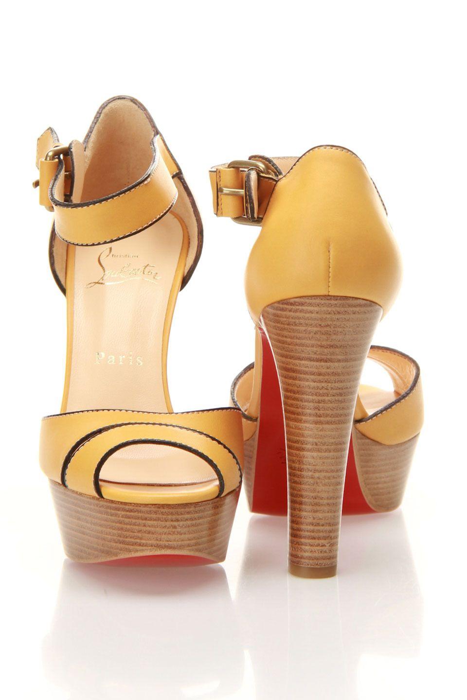 49d655cca8e6 Louboutin Woodaola Sandals In Safran   Beige Fab Shoes