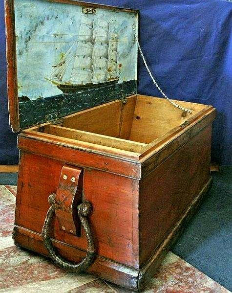 Sailors Sea Chest With Painting Of Ship Cambrian Monarch Painted