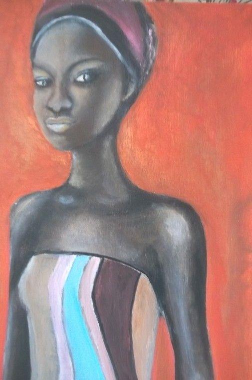 """""""Africaine"""", huile sur bois"""
