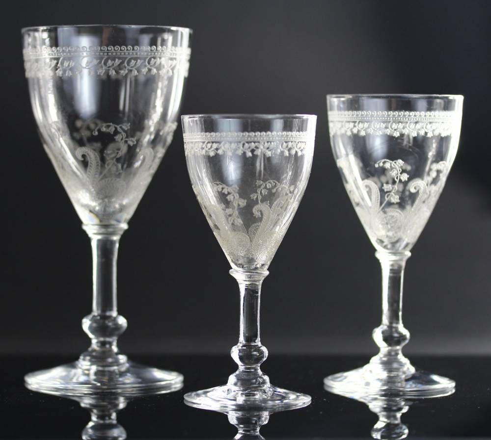 saint louis service de verres en cristal grav d cor de muguets vers 1900 art de la table. Black Bedroom Furniture Sets. Home Design Ideas