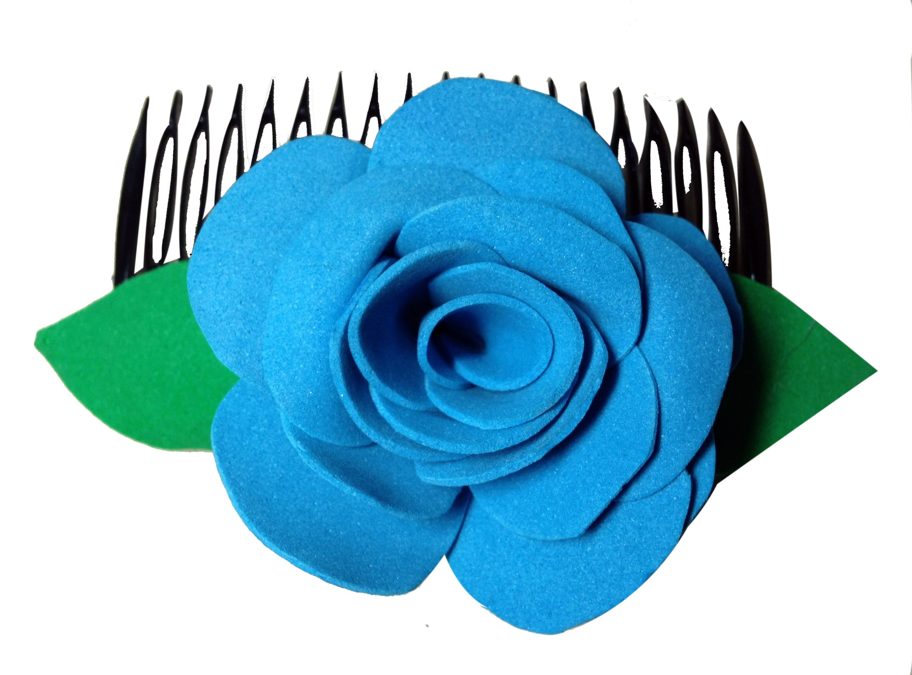 Blue color flower comb pins (one flower), made of imported  rubber sheets, beautifully designed by village women, giving a   new fashion style to hair accessories.   Color: Blue   Material: Imported Rubber sheets  Base material: Imported plastic Comb pin