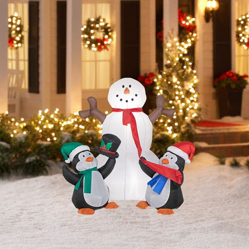 4 39 tall airblown christmas inflatable snowman with for Airblown christmas decoration