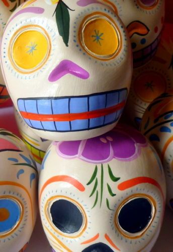 PRETTY COLOURFUL CERAMIC DAY OF THE DEAD SUGAR SKULL from Between the Trees