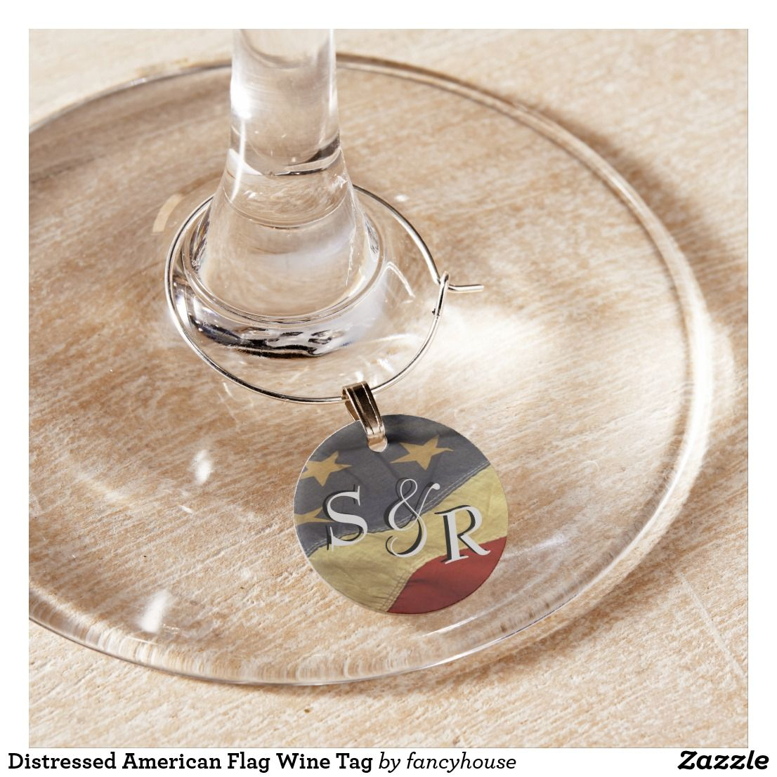 Distressed american flag wine tag wine glass charm flags