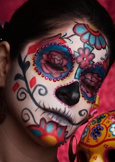 Sugar Skull for Halloween… love the pretty colors instead of the normal darker…