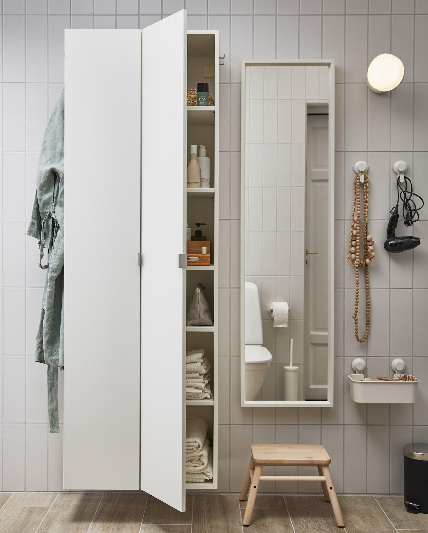 隠せる収納とコンパクトなソリューションを備えたバスルーム Ikea 公式 2020 バスルーム 収納 キャビネット
