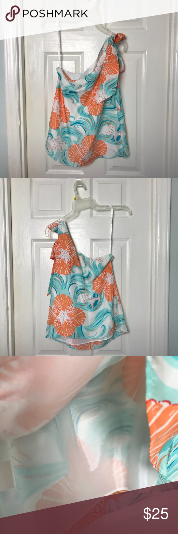 """abc7445fa4e Lilly Pulitzer One Shoulder Top. Size 2 Lilly Pulitzer One Shoulder """"Do The  Wave"""" silk Top. Orange & Aqua colors on a white background."""