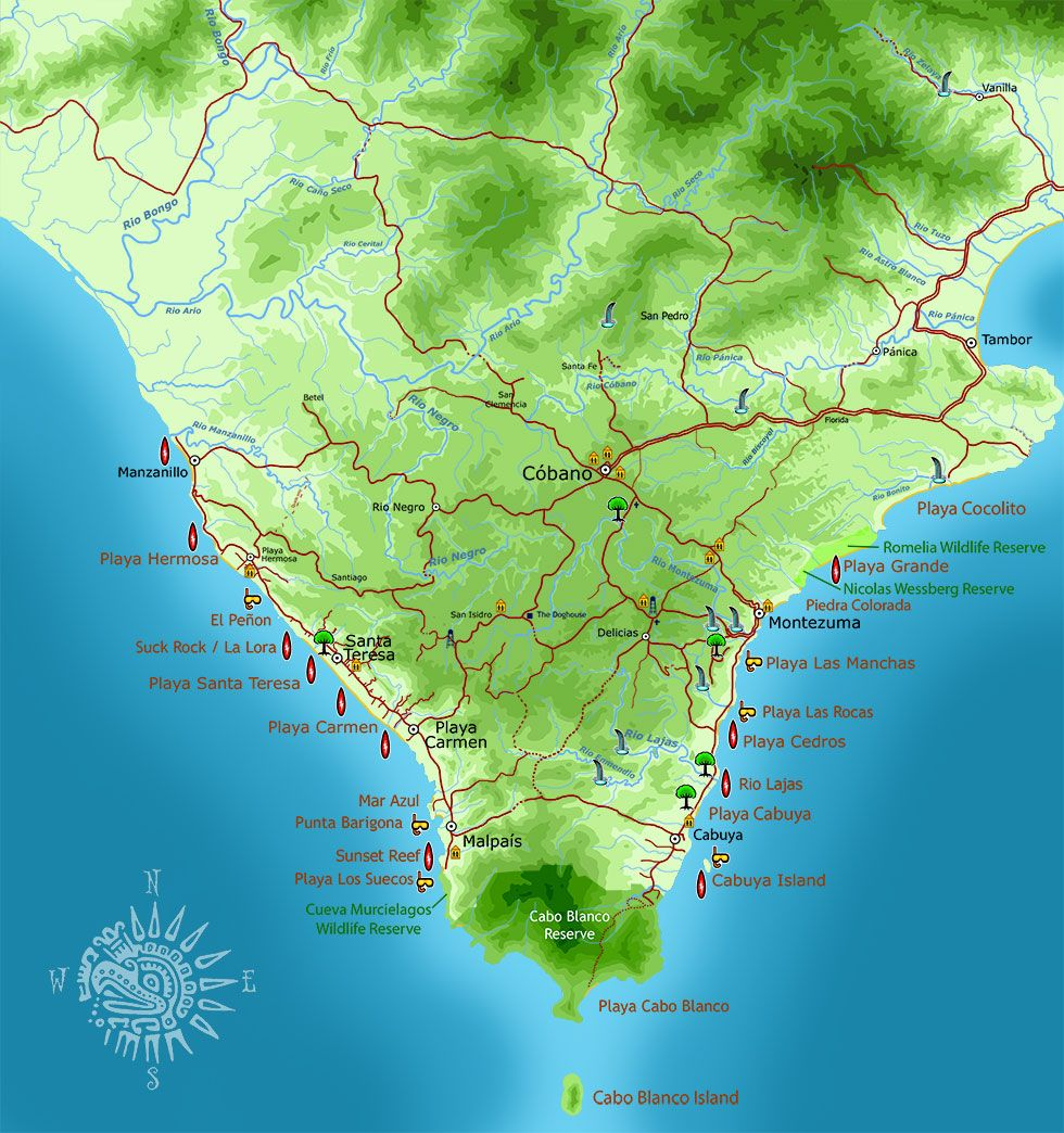 santa teresa costa rica map Southern Nicoya Peninsula Map Costa Rica Map Santa Teresa Costa santa teresa costa rica map
