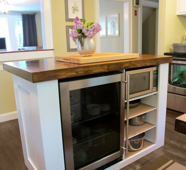 Kitchen Island Refrigerator: DIY Kitchen Island With Build In Fridge.