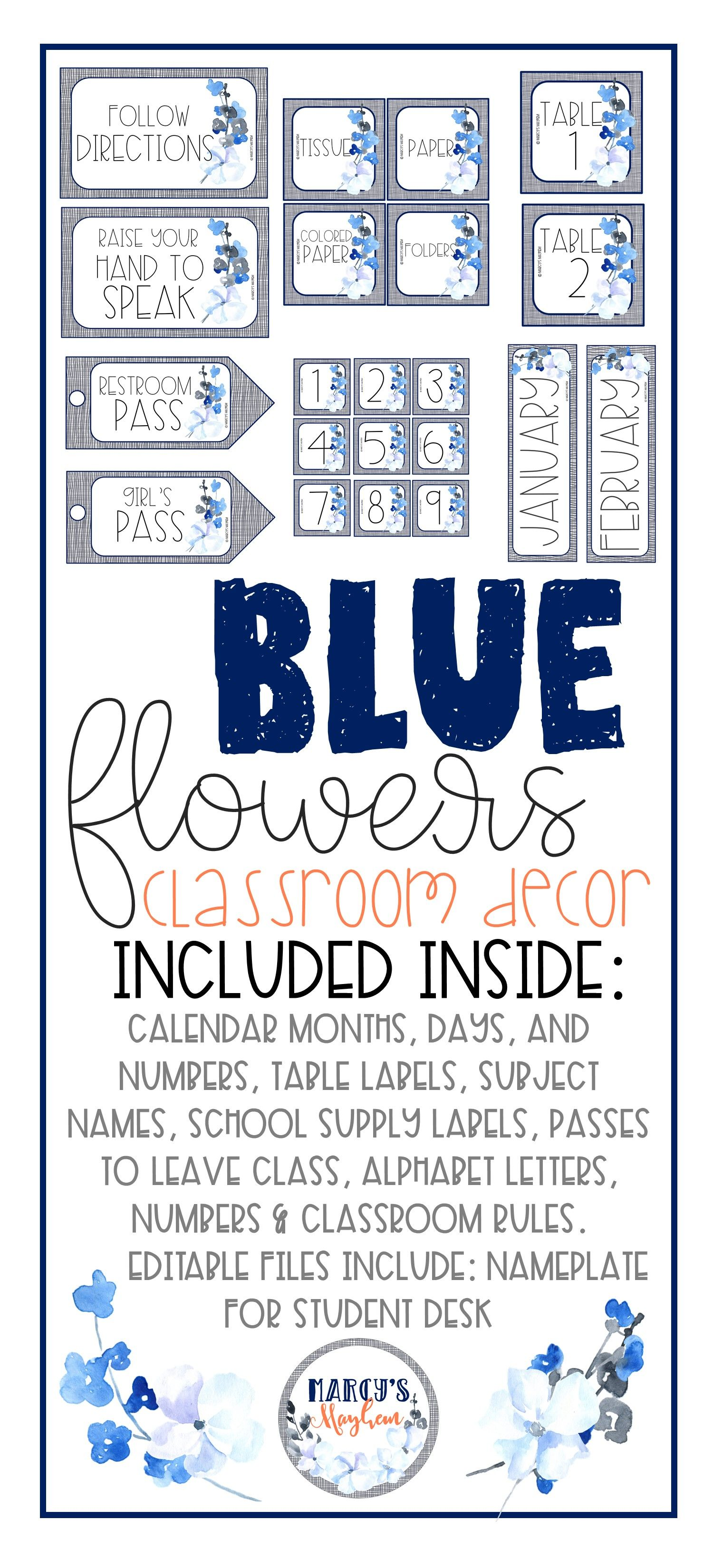 Blue Classroom Decor Navy Flowers Themed Classroom Decor Elementary Classroom Decor Classroom Classroom Labels