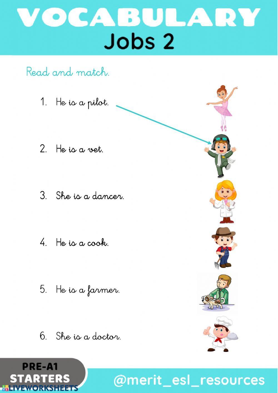 medium resolution of Jobs - Read and match - Interactive worksheet   Grammar for kids