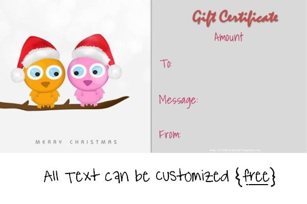 christmas gift certificate template with two cute owls on a branch - cute gift certificate template