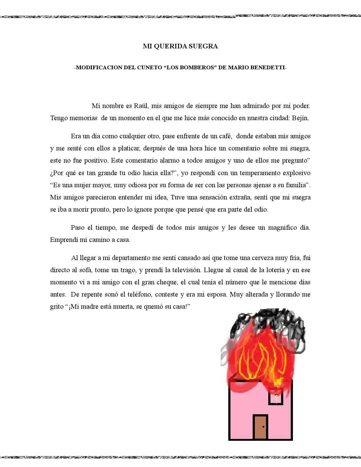 """Mi Querida Suegra  Divertida modificación del cuento """"Los Bomberos"""" de Mario Benedetti"""