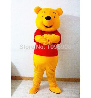 High Quality Winnie Mascot Costume Winnie the Pooh Bear Mascot Costume Adult Party Carnival Christmas Mascot