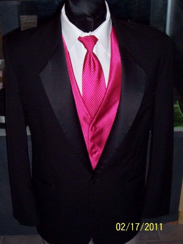 Solid Hot Pink Tuxedo Vest Set (Q10-C) | WEDDING IDEAS | Pinterest ...