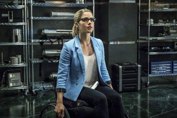 Felicity (two cushions) Smoak  aka Emily Bett Rickards from Arrow 4.
