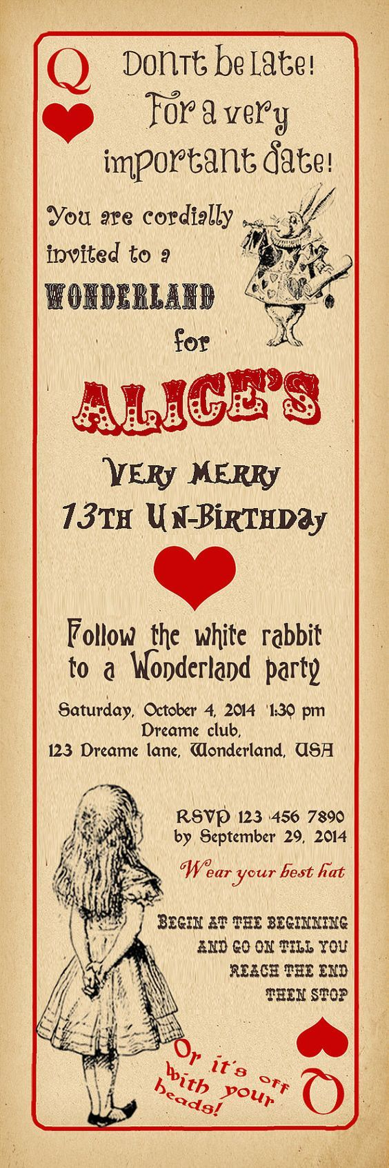 Alice in Wonderland Birthday Party Invitation, Vintage Playing Card ...