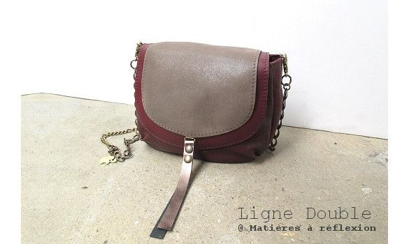 Piccolo2 Double (Cuir Bordeaux/Taupe) #bordeaux #burgundy #minibag #upcycled #leather by #matieresareflexion