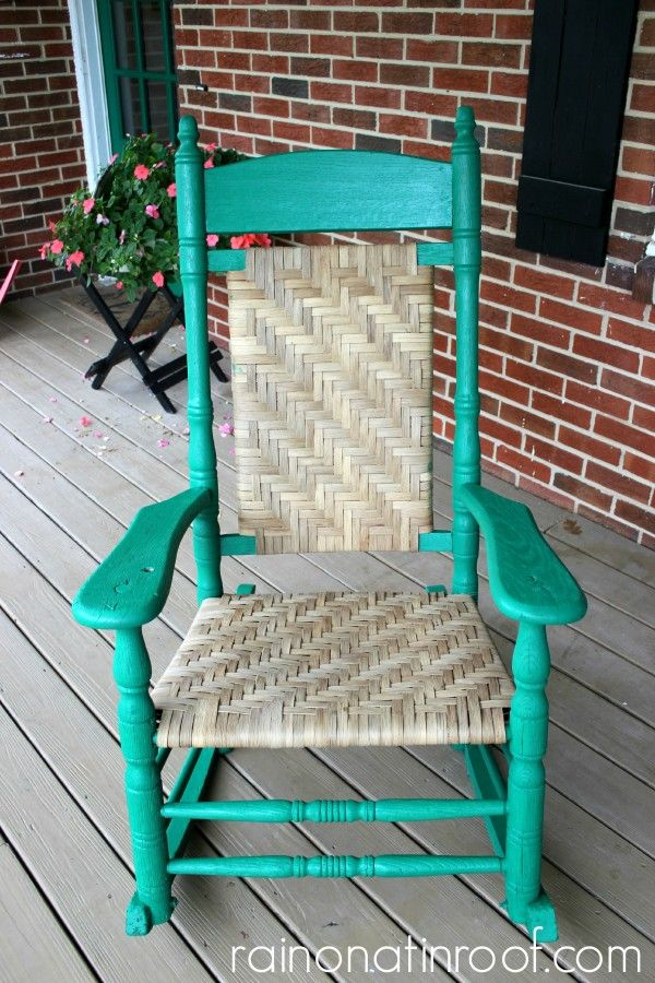 Old Broken Rocking Chair Is Saved With A Few Repairs And Some Bright Fun Green
