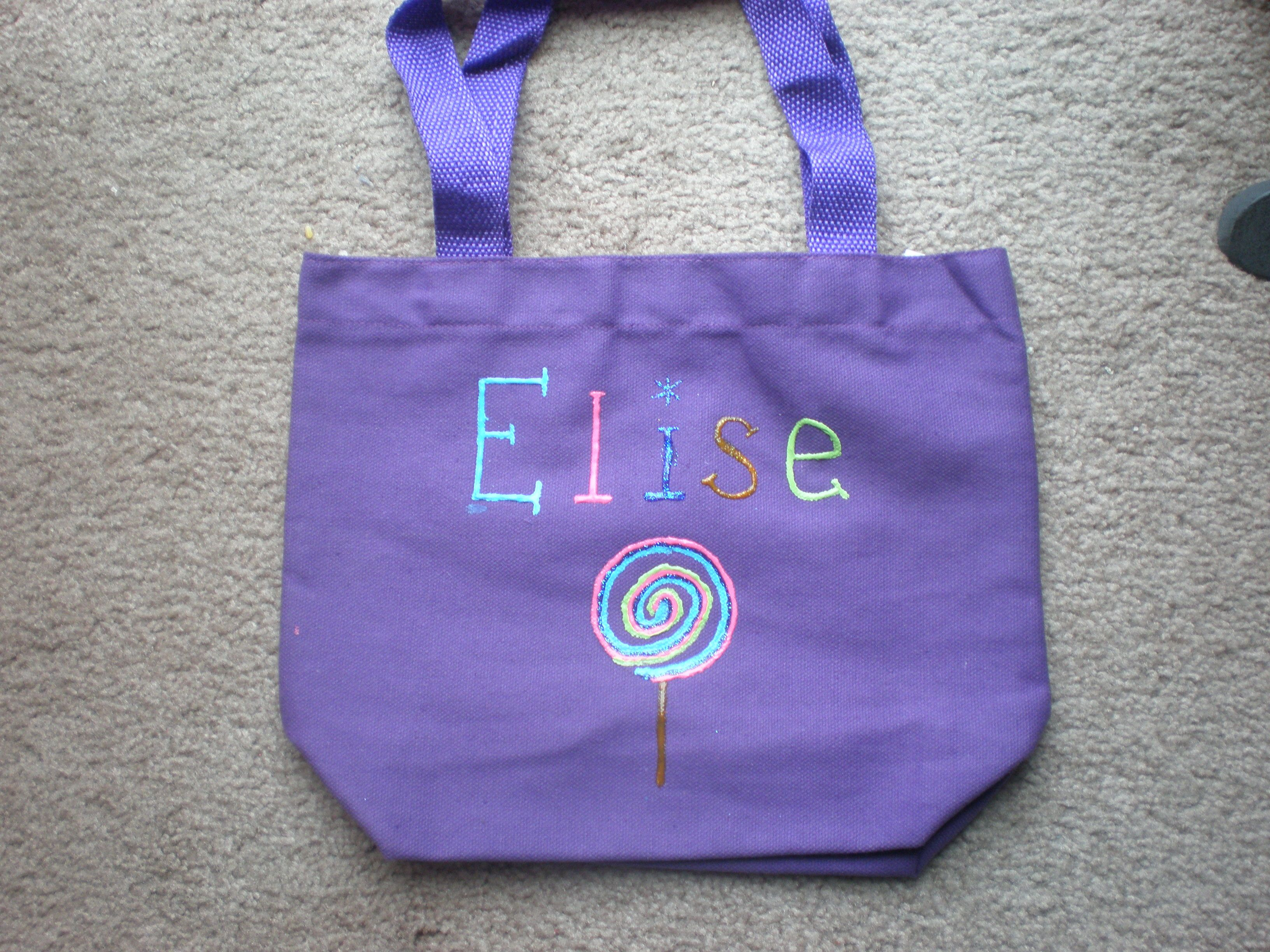 I Made Her Birthday Present To Match The Theme Puff Paints On A Plain Purple Canvas Bag From Michaels Lollipop Birthday Puff Paint Purple Canvas