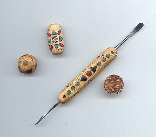 faux ivory with inlay - tool and beads
