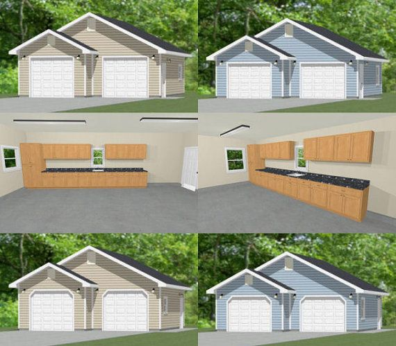 1 1 2 Story Two Car Garage With Apartment: 28x28 2Car Garages PDF Plans 728 Sq Ft By