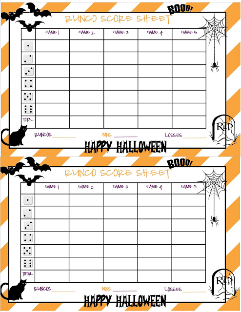 Recipes From Stephanie Halloween Bunco Sheet  Bunco