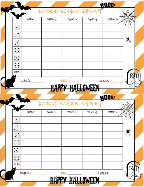 Recipes From Stephanie Halloween Bunco Sheet Halloween Bunco Bunco Bunco Score Sheets