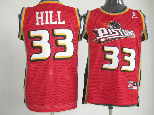 28a5eb24ac00 Adidas NBA Detroit Pistons 33 Grant Hill Swingman Throwback Red Jersey