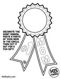 free printable 1 mom blue ribbon coloring page for kids to make cards