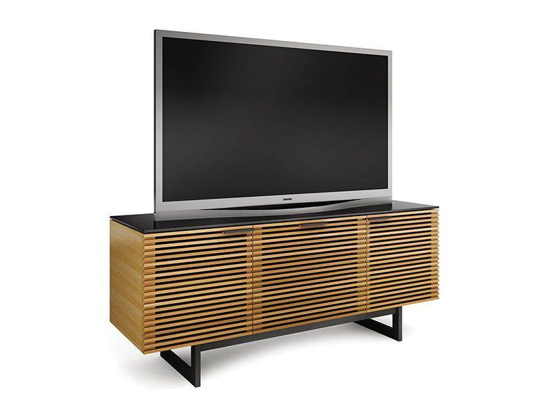 Credenza Dark Wood : Corridor modern slats tv cabinet stand storage credenza dark
