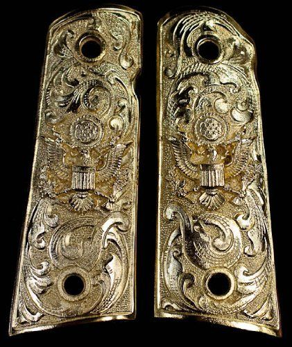 Gold 1911 Gun Grips American Eagle Floral Scroll Engraved