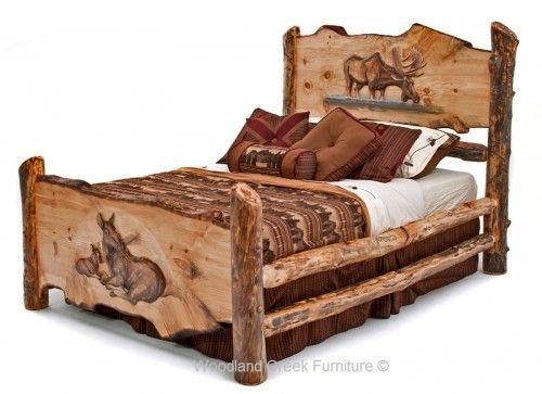 Carved Log Bed with Moose | Koka gultas | Pinterest | Logs, Lodge ...