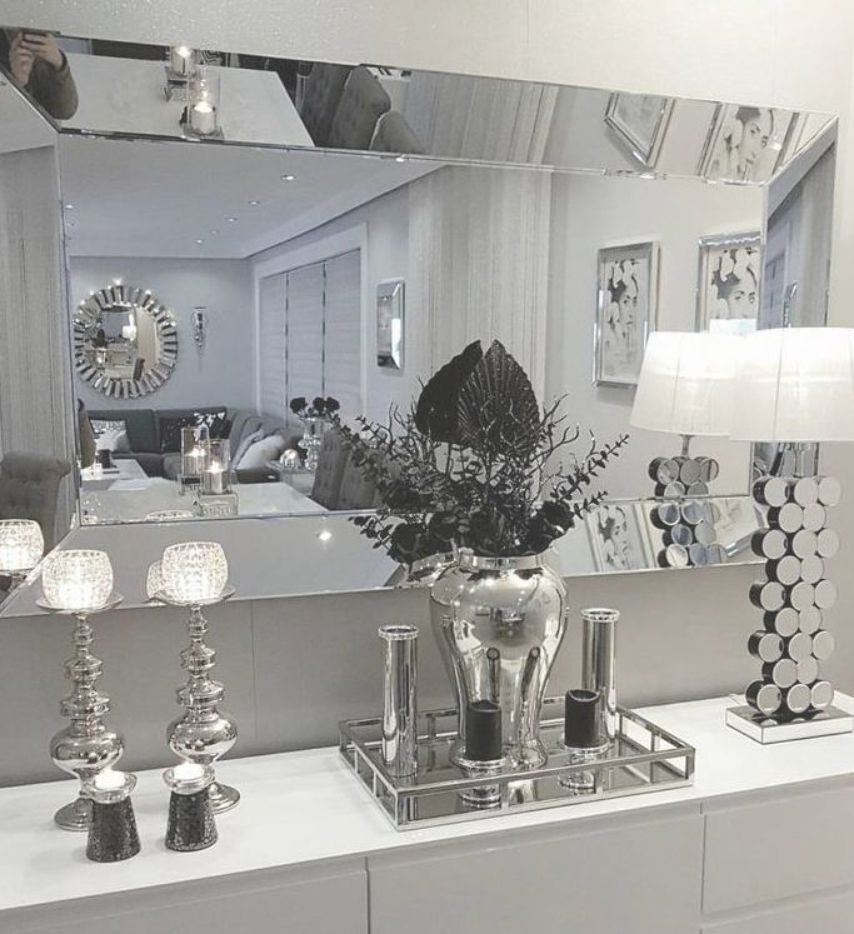 Glass Mirror Silver And Black Black Glass Mirror Silver Black And Silver Bedroom Decorat Silver Living Room Decor Silver Living Room Glam Living Room