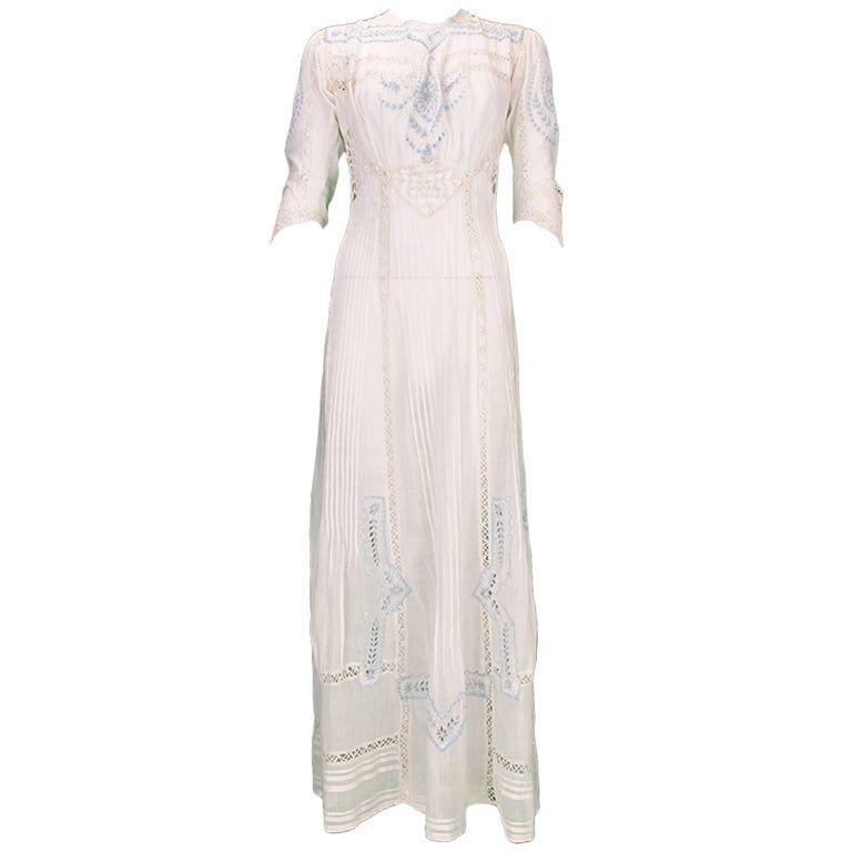 Edwardian blue and white embroidered batiste tea dress