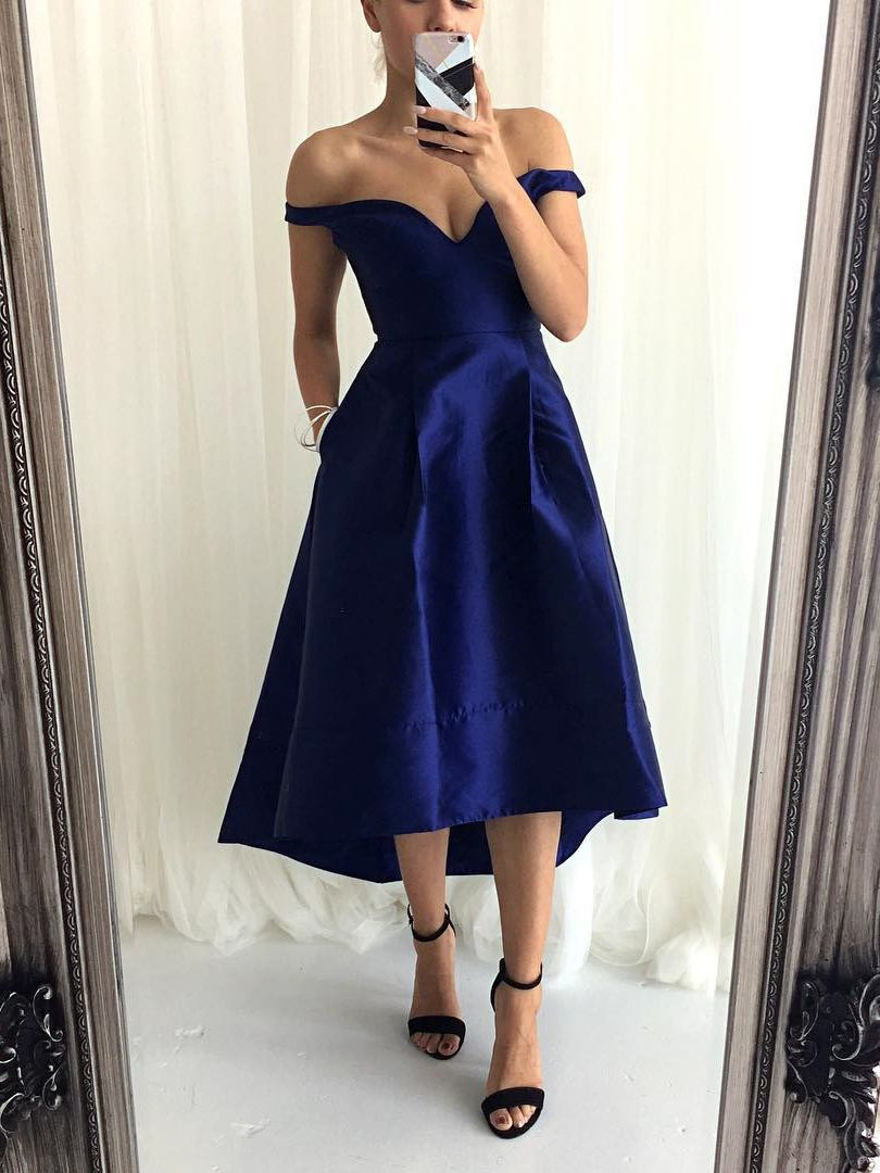 High Low Short Prom Dress With Pockets