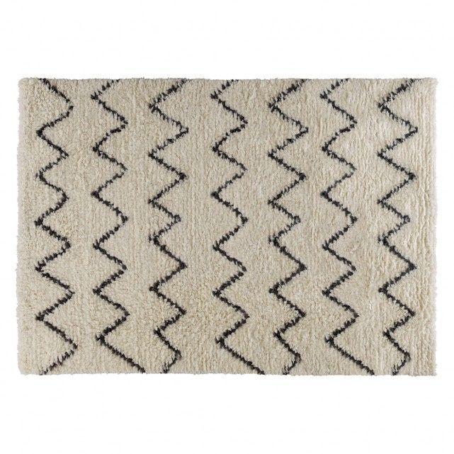 Flokati Large Cream And Charcoal Hand Woven Wool Rug 170 X 240cm Wool Rug Zig Zag Rug Rugs