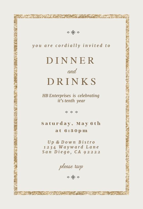 Elegant Gold Dinner Party Invitation Template Free Greetings Island Dinner Party Invitations Dinner Invitation Template Party Invite Template