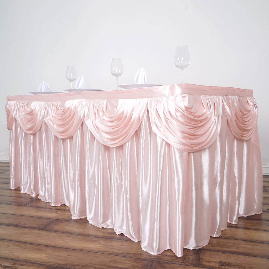 Shabby Chic Wedding Table Decorations: Rose Gold Pleated Satin Double Drape Table
