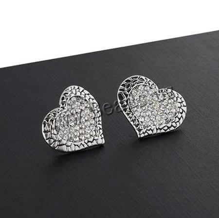 #heart shape #Zinc Alloy #Earring, with Czech #rhinestone & enamel http://www.beads.us/product/Zinc-Alloy-Stud-Earring_p199696.html?Utm_rid=194581