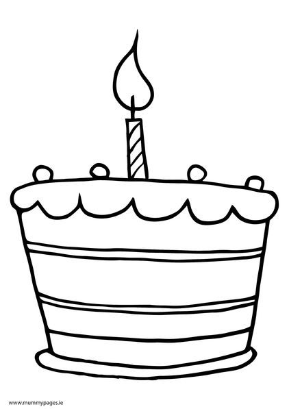 Birthday Cake With One Candle Colouring Page To Download It Just Cakepins Com Cake Drawing Cake Clipart Birthday Cake With Candles