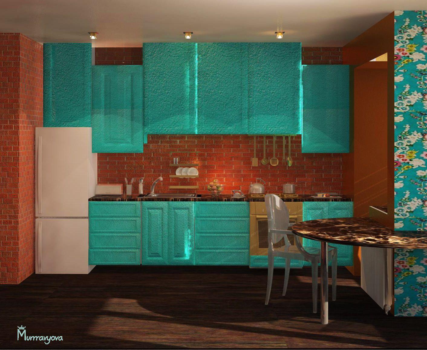 Interior concept. Turquoise kitchen Brick wall Bright wallpaper Turn ...