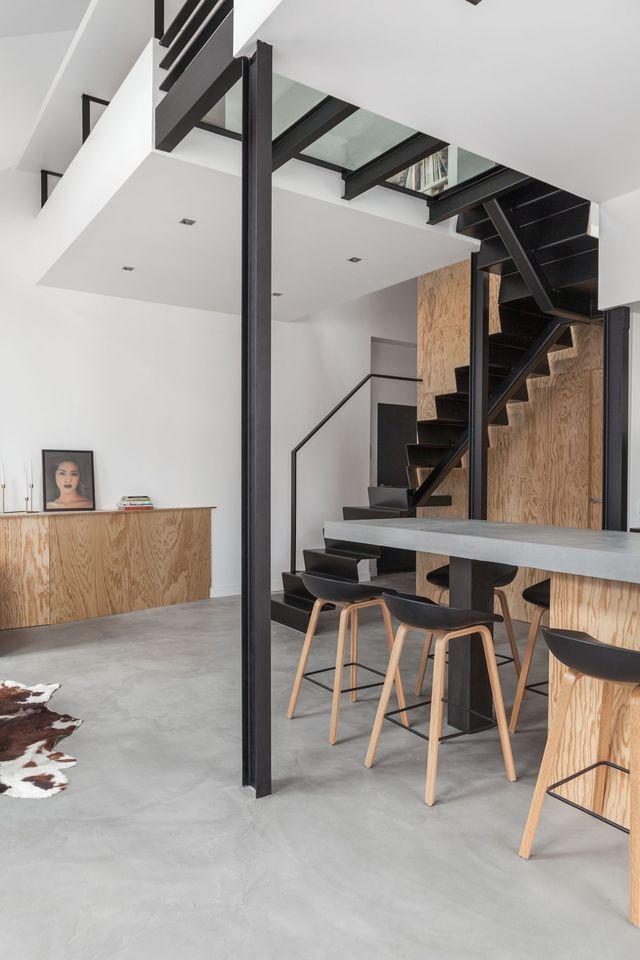 Loft Paris 10  du béton pour un intérieur lumineux Beton, Loft - Aide Travaux Maison Ancienne