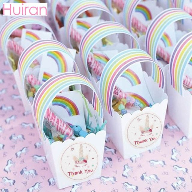 HUIRAN Unicorn Stickers Bottle Stickers Thank You Stickers Seal Labels Rainbow Unicorn Party Decor Unicron Birthday Party Decor Review