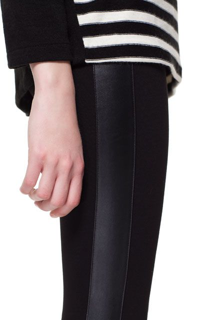LEGGINGS WITH FAUX LEATHER SIDE PATCHES