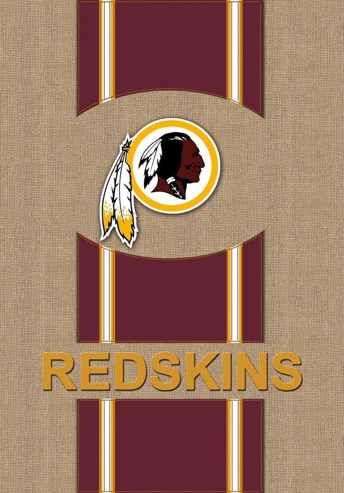 Washington Redskins Logo Stripes Burlap Garden Flag